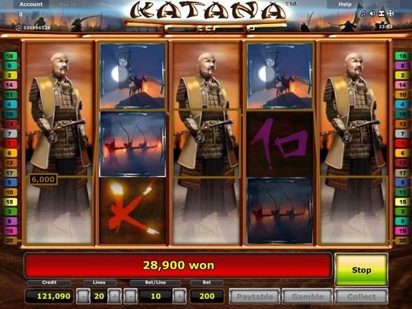 Интерфейс игрового слота Katana